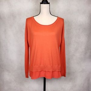 Rebecca Minkoff Carolina orange cashmere silk top